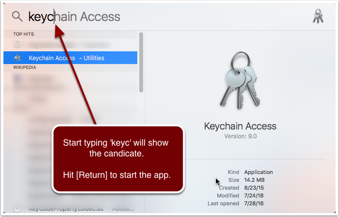 Start Keychain Access